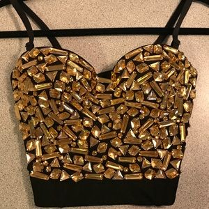 Tops - Gold Rhinestone Bustier Perfect For Halloween